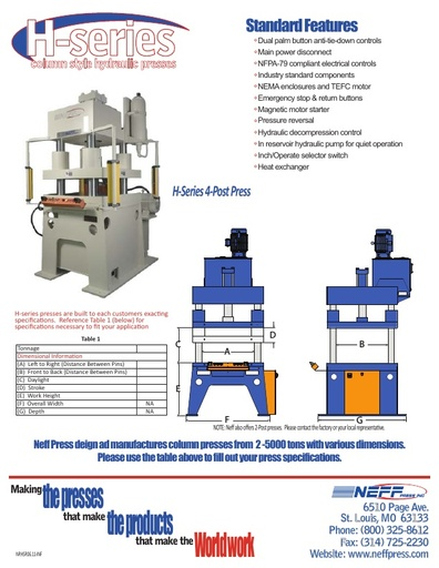 Column Style Hydraulic Presses