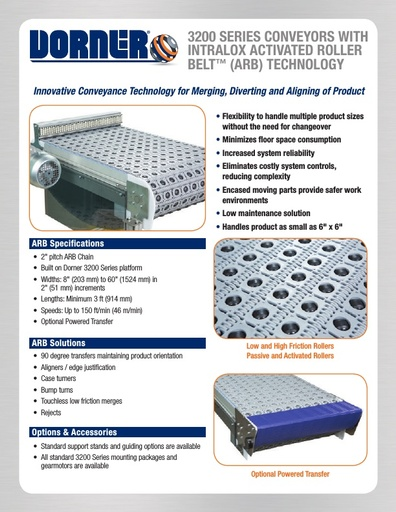 3200 Series Conveyors with Intralox Activated Roller Belt (ARB) Technology