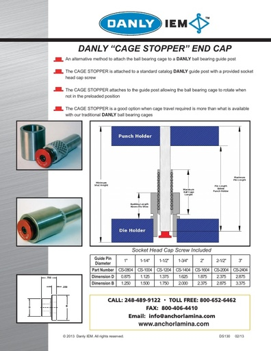 Cage Stopper End Cap