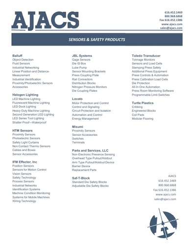 Sensor & Safety Products Line Card