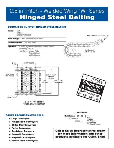 2-1/2 Pitch Hinged Steel Belt W Series Conveyor